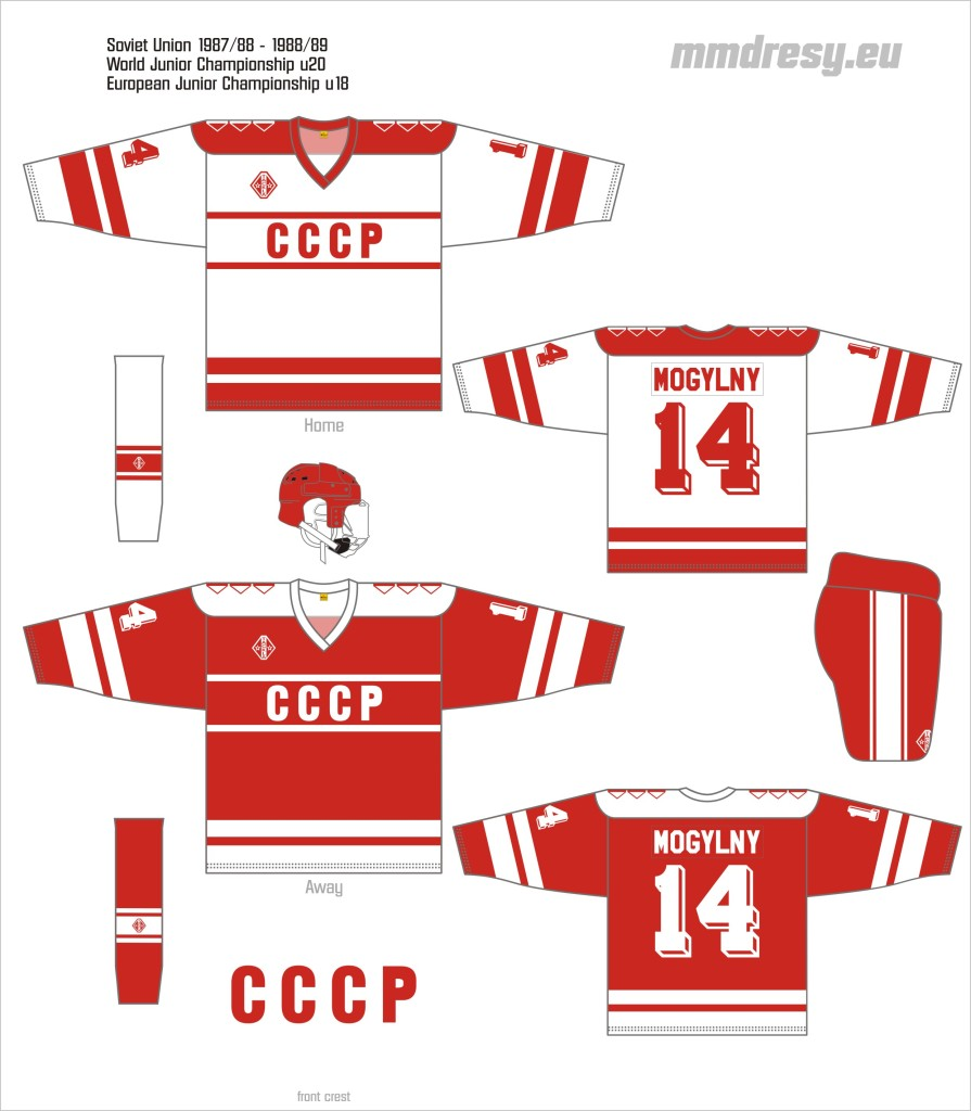 soviet union 1987-88 - 1988-89 wjc, ejc jerseys
